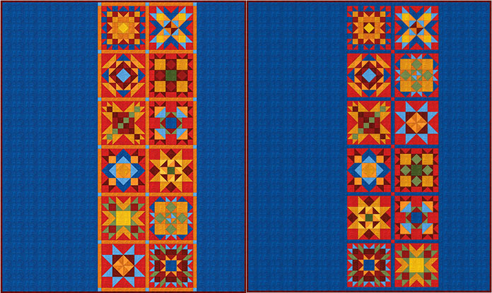 Two design versions of the Spectrum QAL 2020. Spectrum QAL 2020 made with Benartex Wave Texture collection. Fairfield Quilter's 80/20 Quilt Batting