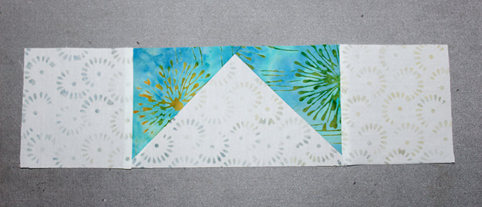 """Stitch 2 A squares on edges of a Step 6 rectangle to make a 3 ½"""" x 12 ½"""" rectangle and repeat to make 2 units."""