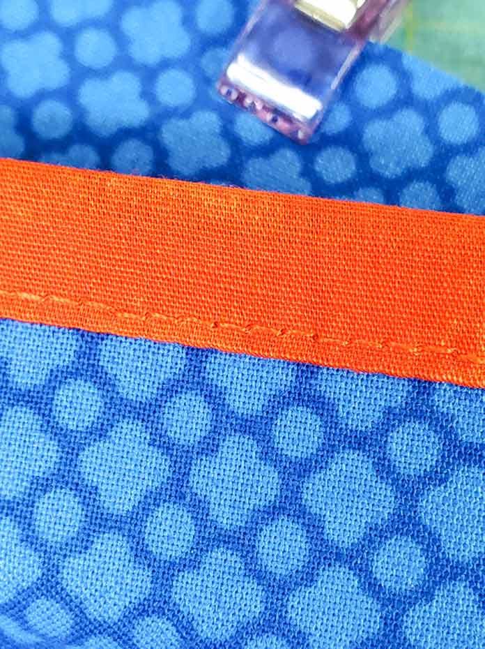 The stitching on the back of the bound pocket using the Quilt Binder on the Husqvarna Viking Designer Sapphire™ 85