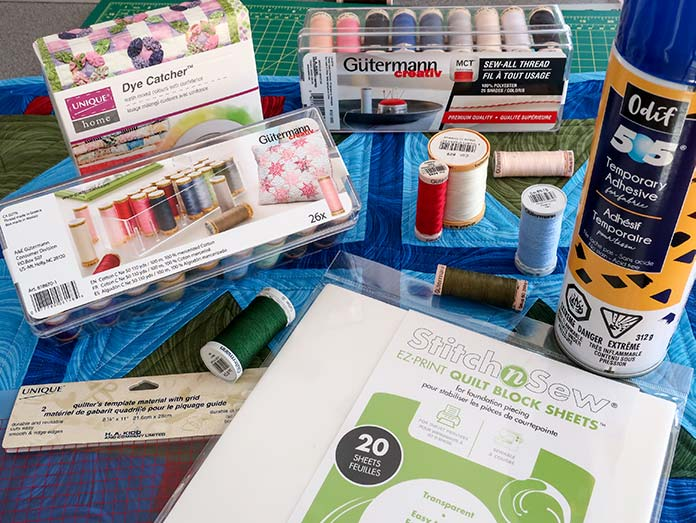 Making a quilt with good quality products makes a sewing experience so much better. Unique Dye Catcher, Unique Quilters Template material, StitchnSew EZ-Print Quilt Block Sheets, Odif 505 Temporary Adhesive, Gütermann threads