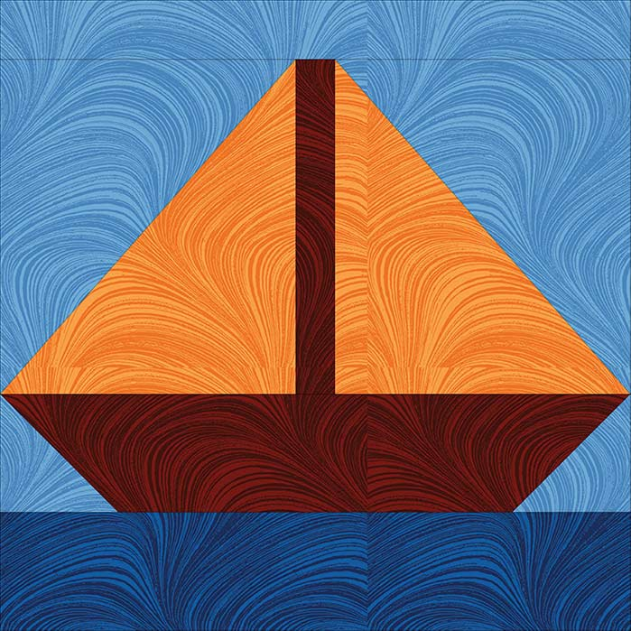 Complementary foundation piecing sailboat block.