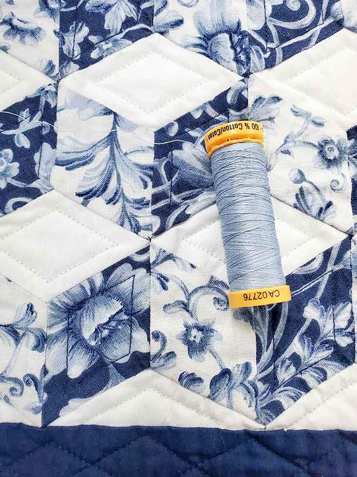 Thread to finish the quilting on the table topper. Husqvarna Viking Brilliance 75Q sewing machine