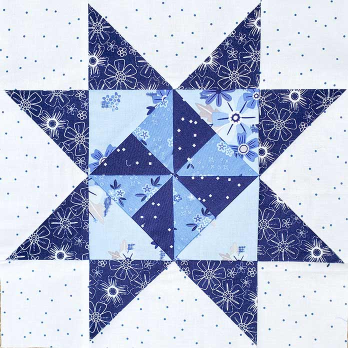 The front of the blue and white quilt block; Spectrum QAL2020, Blue Stitch Fabric Collection Block 1