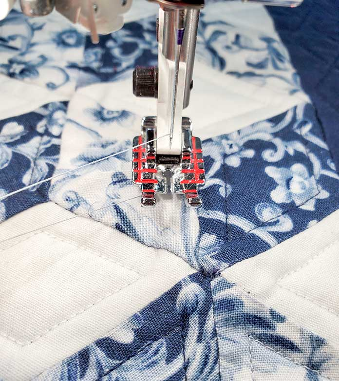 "The Quilter's ¼"" Piecing Foot on the Husqvarna Viking Brilliance 75Q sewing machine"
