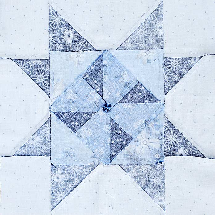 The back of my quilt block; Spectrum QAL2020, Blue Stitch Fabric Collection Block 1
