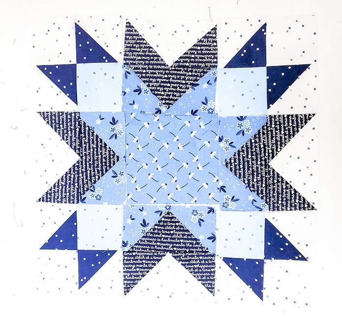 A quilt block; Block 2 in the Spectrum QAL 2020