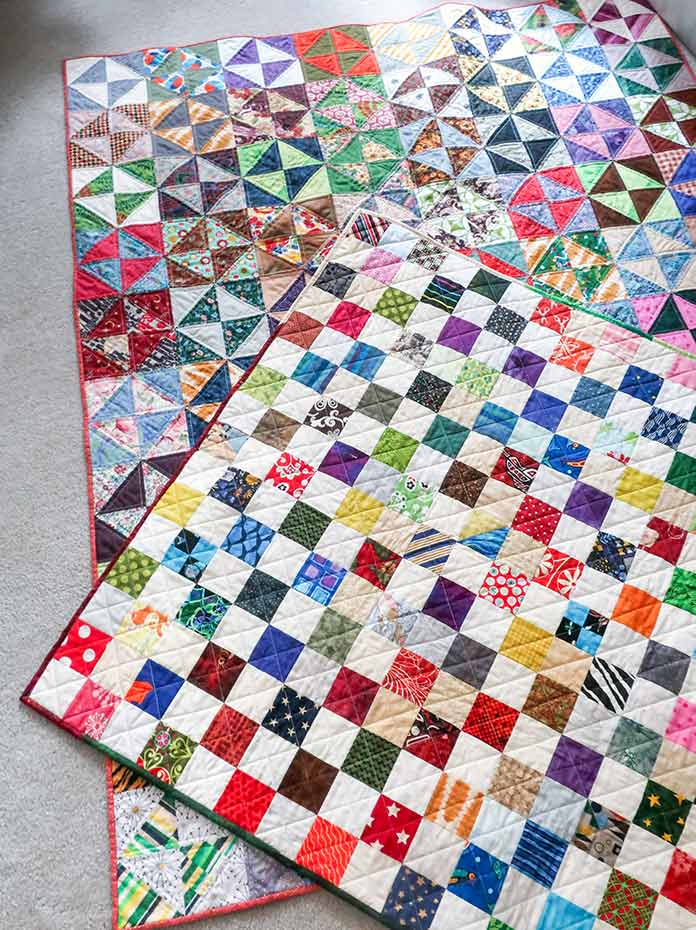 showing the binding on two quilts