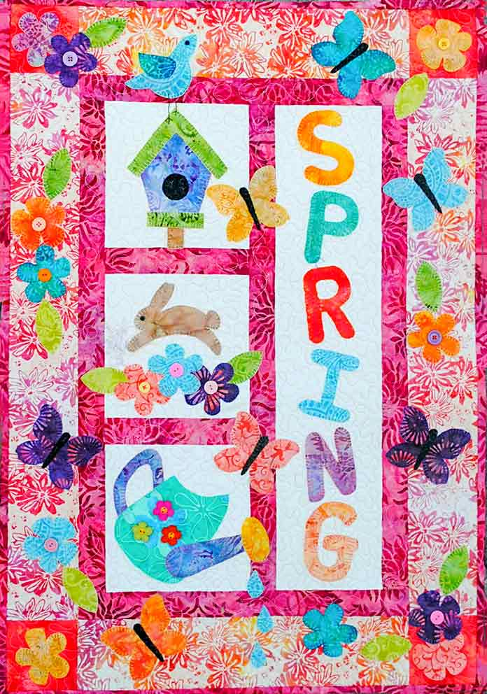 "Here is the fusible applique pattern called It's a Spring Thing by Christine Baker of Fairfield Road Designs. Mary Ellen's Best Press, HeatnBond Lite Iron-On Adhesive Sheets, Olfa 5"" Stainless Steel Serrated Edge Scissors, Heirloom Non-Stick Teflon Applique Mat, Oliso M2Pro Mini Project Iron."