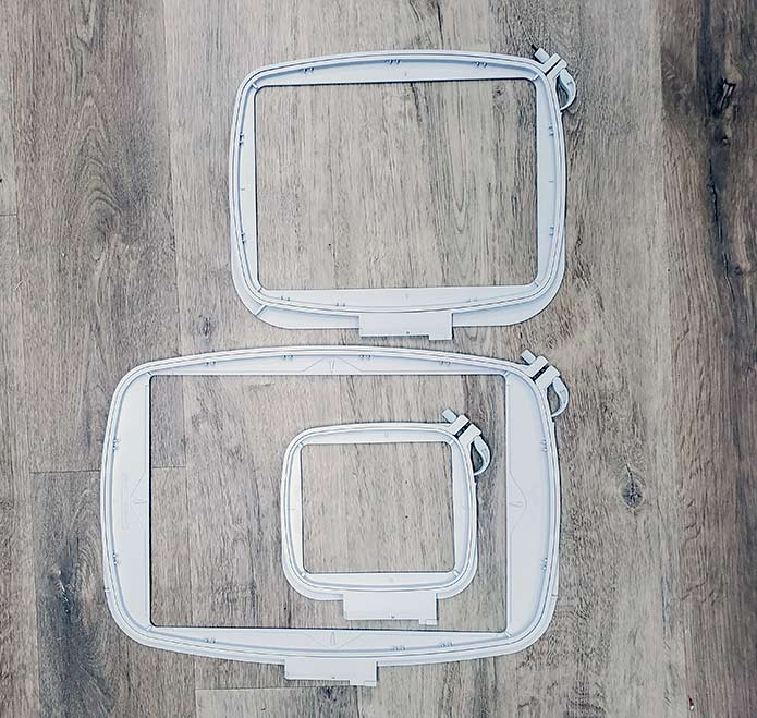 Three different sizes of machine embroidery hoops for the Husqvarna Viking DESIGNER EPIC 2