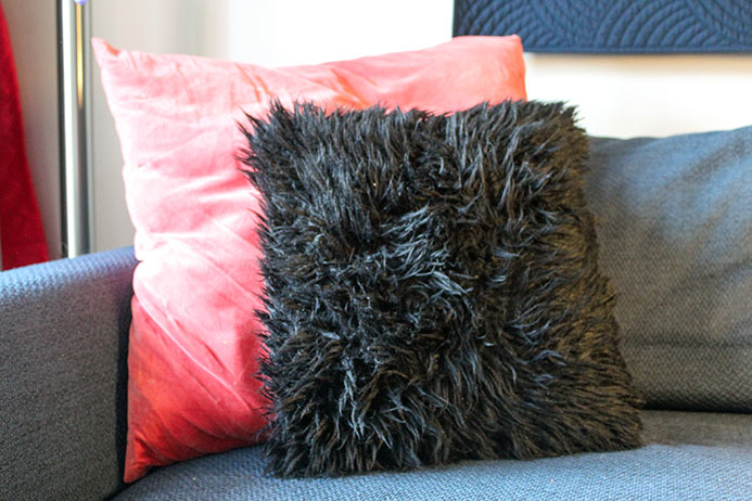 A pillow made with Fabric Creations Mink Faux Fur.