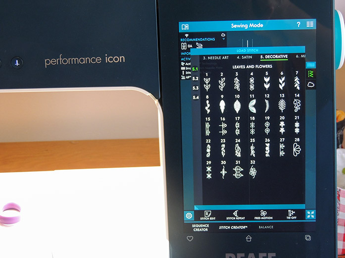 Built-in stitches menu of the multi-touch screen on the PFAFF performance icon
