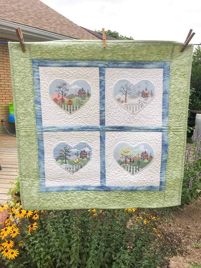This quilt, 4 Seasons to Love with Embroidery Machine Cross-stitch, was the inspiration for one of the labels.