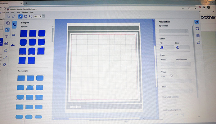 Homepage for the free Canvas Workspace program; Brother ScanNCut SDX225, Canvas Workspace, Brother stencil sheets