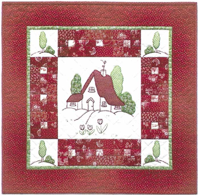 My Redwork Cottage quilt. Brother ScanNCut SDX225, Brother scanning mat, Brother fabric mat, Brother blue erasable marking pen, Heat n Bond Feather Lite, Brother color pen set