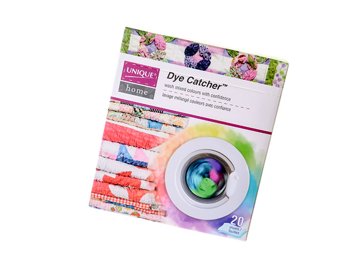 Use UNIQUE Home Dye Catcher sheets to stop fabrics from bleeding their color. UNIQUE Folding Cutting Mat, UNIQUE Home Dye Catcher, Odif 505 temporary adhesive spray, Gütermann Cotton thread
