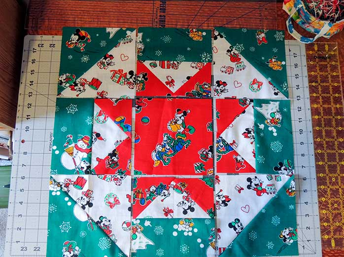 Churn Star block layout photo for the Vintage Holiday bed runner project