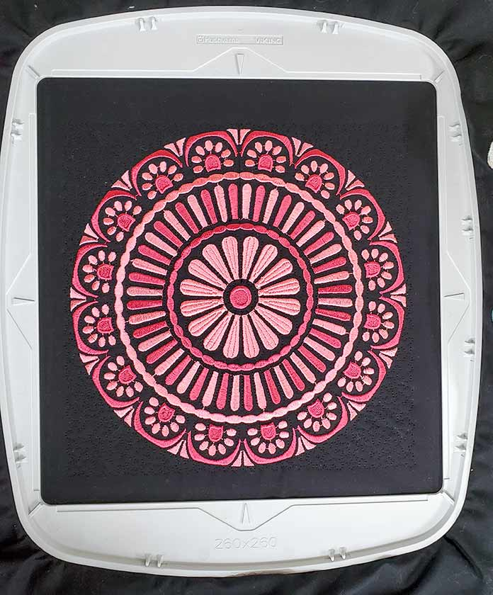 The finished machine embroidered and quilted mandala using the Husqvarna Viking Mega Quilters Hoop; HV Designer EPIC 2