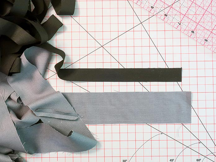 "Strips measuring ⅞"" and 2⅛"" in width are cut and sewn end to end"