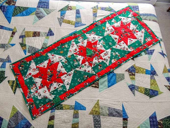 Holiday bed runner vintage fabrics PFAFF performance icon project