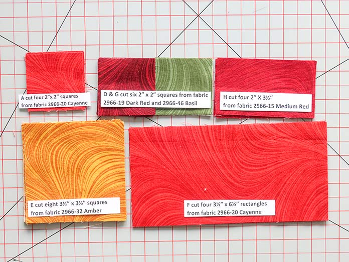 All 5 Wave Texture fabric colors for Block 4 cut, identified and ready for piecing.