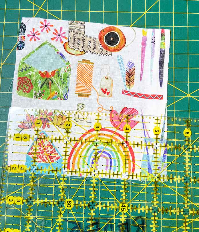 "Cut a 5"" square of your chosen fabric to use as the top of the Clover Create-a-Pincushion."