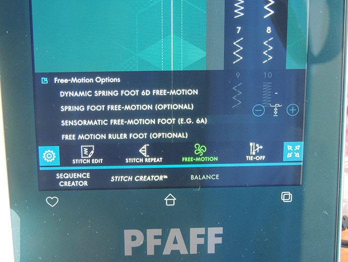 PFAFF performance icon's Free-Motion Options menu
