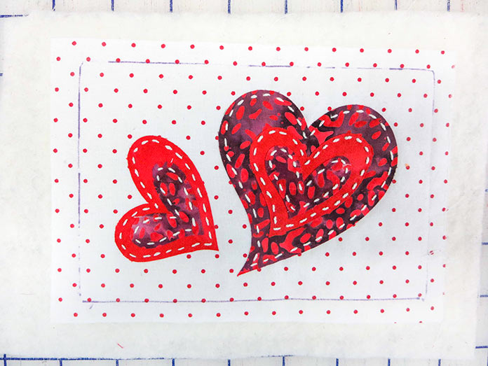 Fusible heart shapes hand–stitched on batting, Brother ScanNCut SDX225, Brother BQ3050 sewing machine, Brother brayer, Brother spatula, Brother standard tack cutting mat