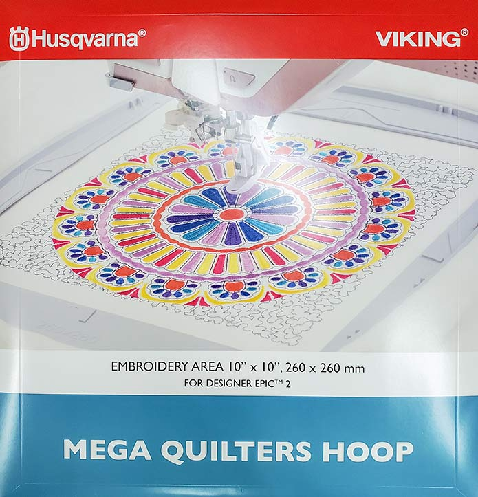The packaging for the NEW Mega Quilters Hoop by Husqvarna Viking
