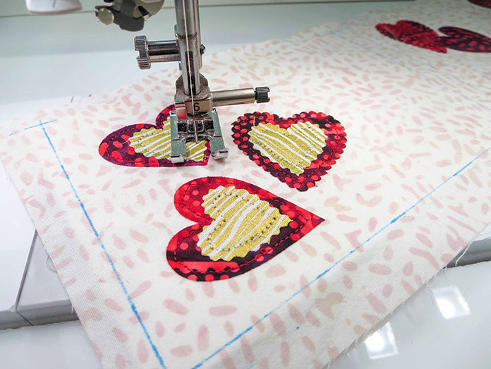 Machine stitching using an open toe foot on the Brother BQ3050, Brother ScanNCut SDX225, Brother BQ3050 sewing machine, Brother brayer, Brother spatula, Brother standard tack cutting mat
