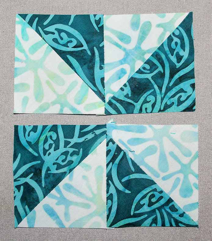 """Stitch 2 squares from step 1 together to make a 2½"""" x 4½"""" rectangle"""