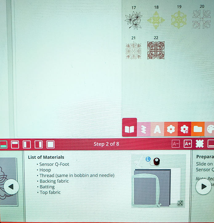 Instructions for machine embroidery on the screen of the embroidery machine; HV Designer EPIC 2