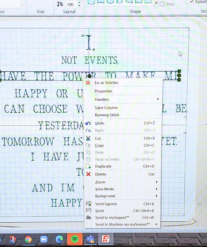 Creating the quote with separate lines of text; DESIGNER Majestic Hoop in the PREMIER+ 2 software