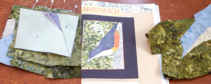 "In the left picture, you can the pins holding the B and C sections of the paper piecing together, right sides together with the sewing paper visible. You ca see the ¼"" seam. The right-hand picture shows the photo of the completed Nuthatch from the book, you can see the green background, the log it is sitting on, the gray, beige and dark and light orange of the body. The right-hand picture shows my completed Nuthatch head, the gray and beige attached to the green background."