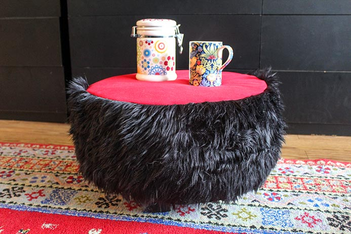 It's so easy to make my Shaggy Tuffet project using the FAIRFIELD Foamology Soft Support Foam Tuffet Kit.