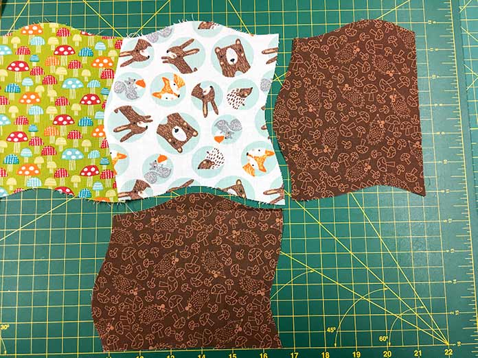 The two blocks will match up with the bottom right side of the pieced quilt.