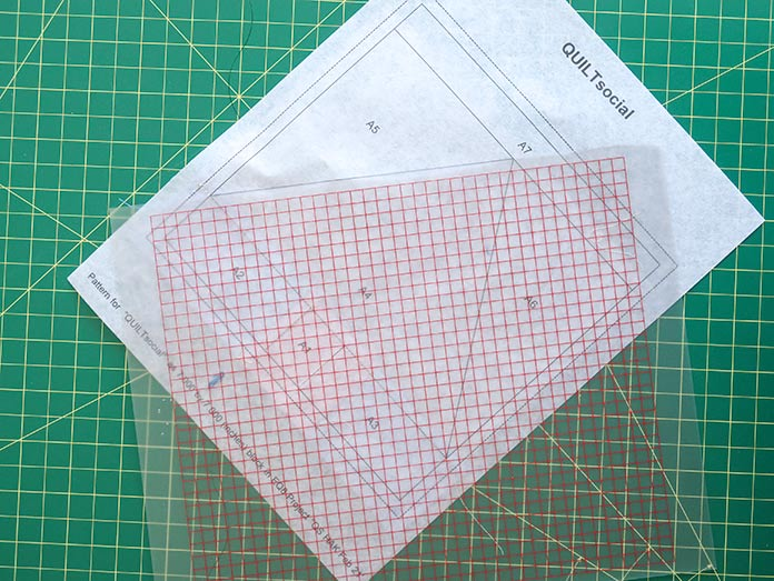 """By placing the edge of the plastic template along the A4/A5 line, folding will be easier. Using UNIQUE Quilt Template - 21 x 30cm [8¼"""" x 11¾""""], UNIQUE SEWING Quilt Template with Grid - 21 x 28.5cm [8¼"""" x 11""""], Gütermann threads, UNIQUE Dye Catcher and StitchnSew sheets."""