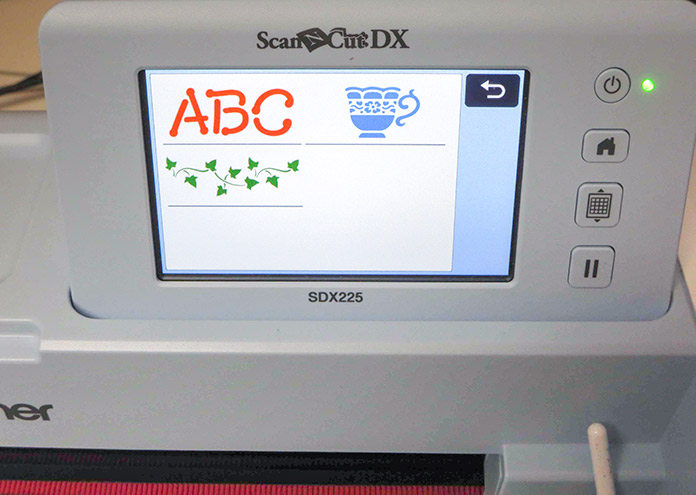 Home screen for stencilling designs on the Brother SDX225; Brother ScanNCut SDX225, Canvas Workspace, Brother stencil sheets
