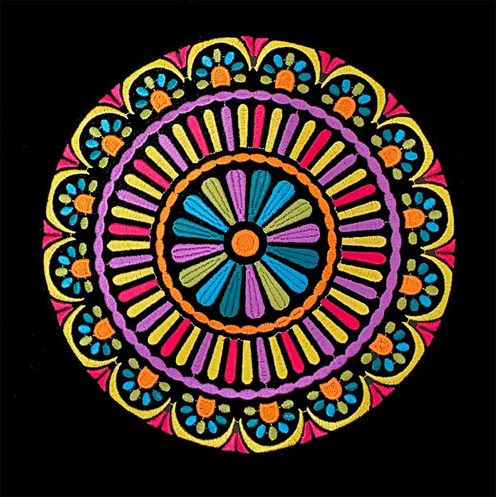 An embroidered mandala using multiple thread colors; HV Designer EPIC 2