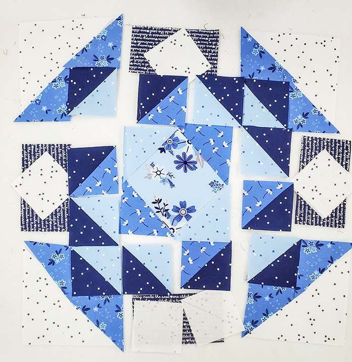 Preview of Block 3 featuring the Blue Stitch fabric collection by Riley Blake Designs.