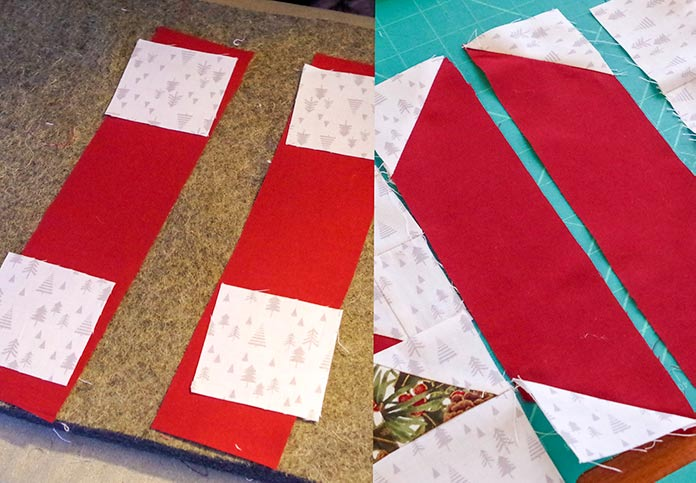In the left-hand picture, the dark red strips that will be sewn together are shown with the white tree fabric squares. In the right-hand picture, the strips are shown with the half triangle tree squares sewn on. You can see the tip of the tree showing on the right-hand side to show how the triangles have been matched with the background of the square.