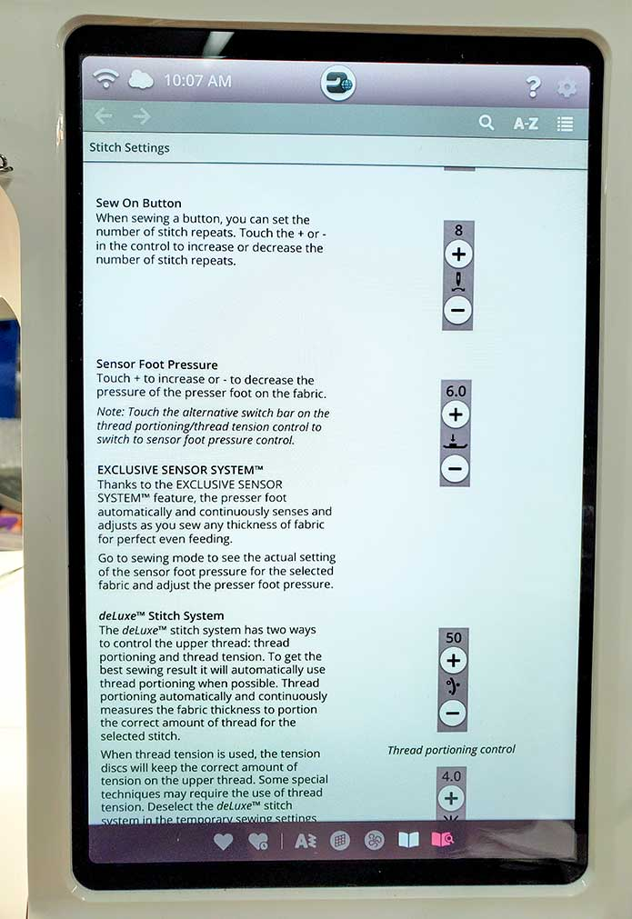 The User Guide on the interactive touch screen on the Husqvarna Viking EPIC 95Q