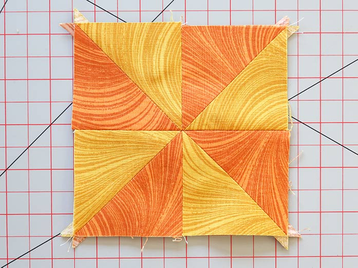 All four HSTs are sewn together to make the center of the block.