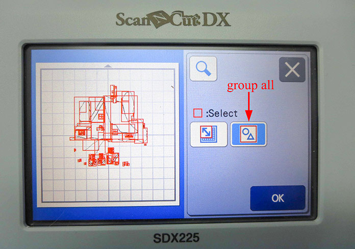 Group all parts of the image, Brother ScanNCut SDX225, Brother scanning mat, Brother fabric mat, Brother blue erasable marking pen, Heat n Bond Feather Lite, Brother color pen set