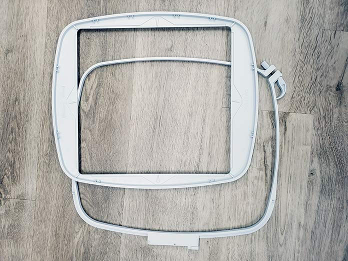 The outer and inner sections of the Husqvarna Viking Mega Quilters Hoop