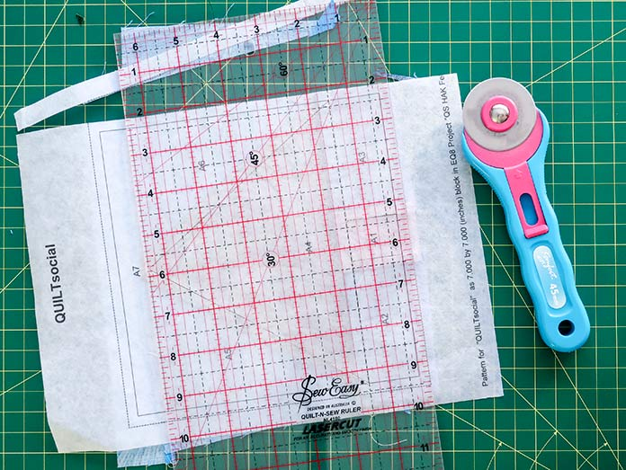 """For a more precise block, cut ¼"""" from the inner square. Using UNIQUE Quilt Template - 21 x 30cm [8¼"""" x 11¾""""], UNIQUE SEWING Quilt Template with Grid - 21 x 28.5cm [8¼"""" x 11""""], Gütermann threads, UNIQUE Dye Catcher and StitchnSew sheets."""