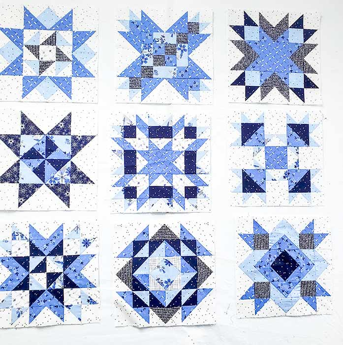 Block 1 to 9 of the Spectrum QAL 2020 made with Riley Blake Designs Blue Stitch collection