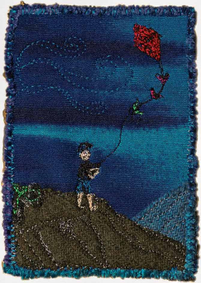 Quilted postcards can be whatever you wish them to be, there are no rules to creativity other than letting it soar! Just recreate what's on your mind. This card created by Debbie Bates.