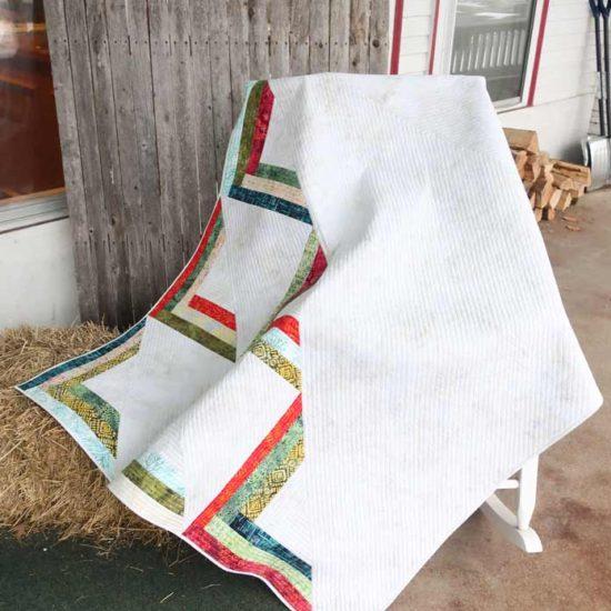 Modern quilt made using Northcott Banyan batiks.