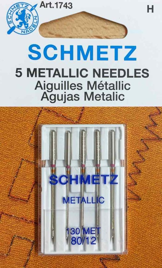 Schmetz Metallic needles help your thread glide through your needle and prevent breakage.