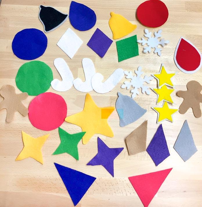 Holiday shapes using Kunin Rainbow ClassicFelt & PrestoFelt